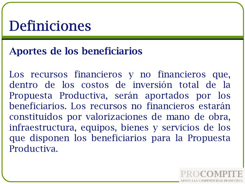 Definiciones Aportes de los beneficiarios