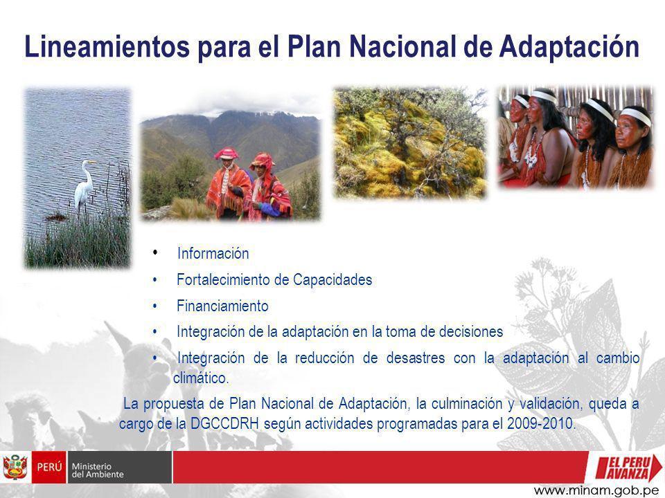 Lineamientos para el Plan Nacional de Adaptación