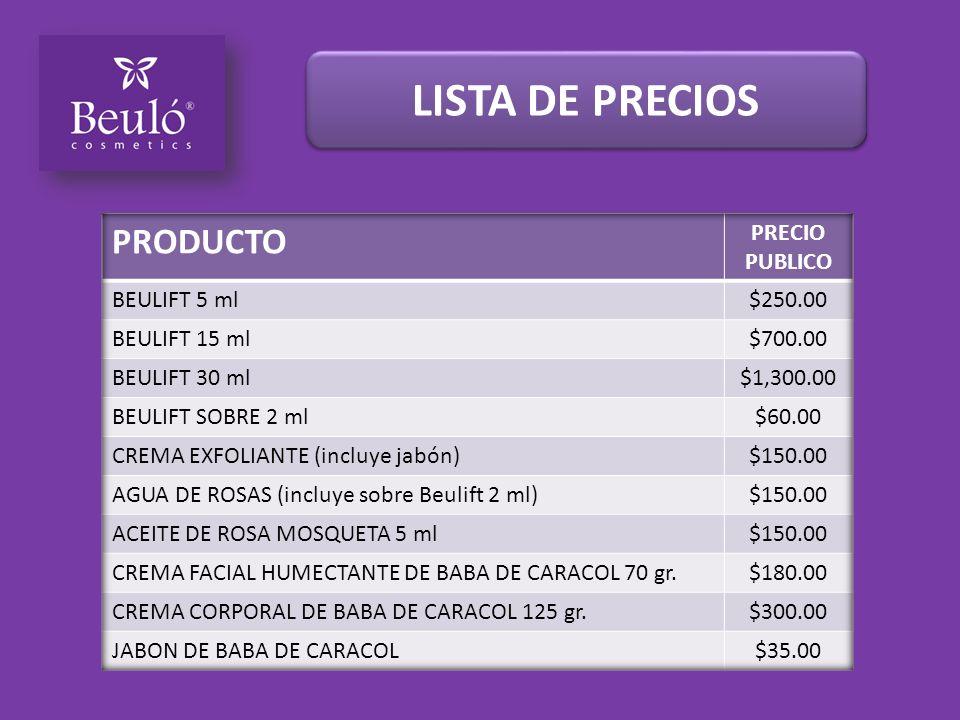 LISTA DE PRECIOS PRODUCTO PRECIO PUBLICO BEULIFT 5 ml $250.00
