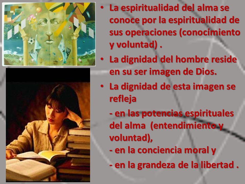 La espiritualidad del alma se conoce por la espiritualidad de sus operaciones (conocimiento y voluntad) .