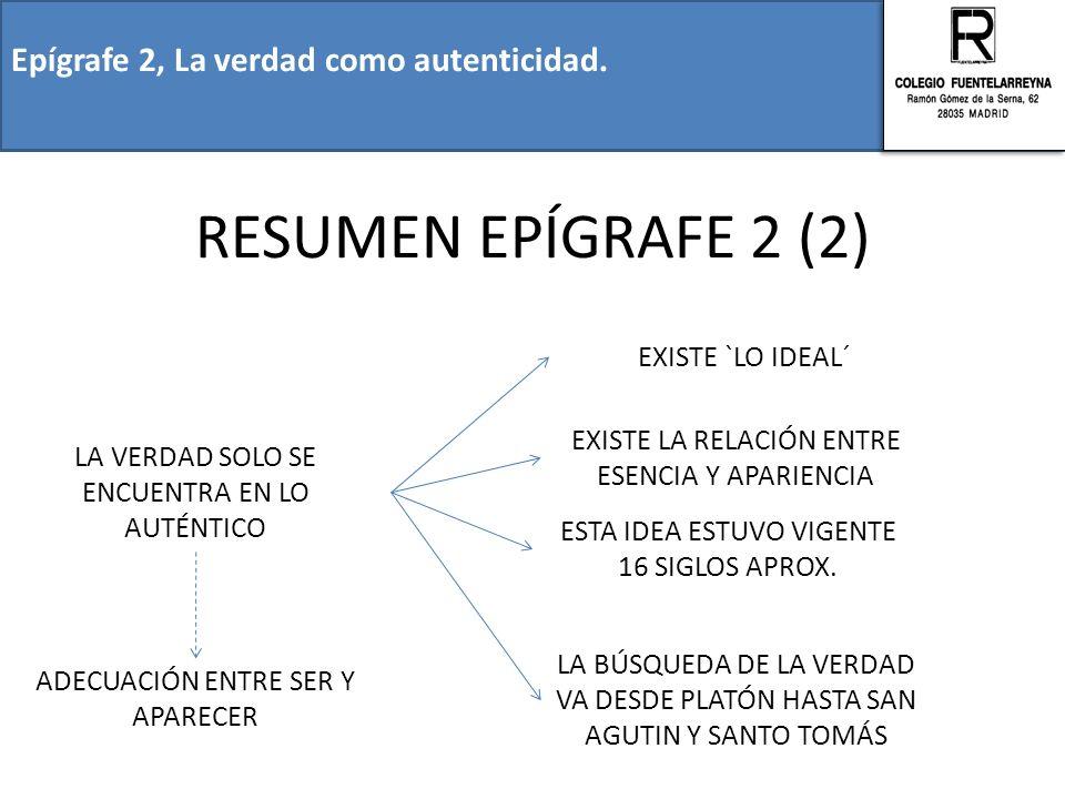 RESUMEN EPÍGRAFE 2 (2) Epígrafe 2, La verdad como autenticidad.