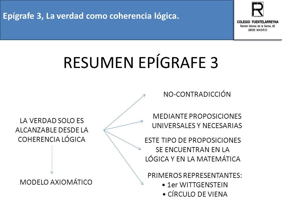 RESUMEN EPÍGRAFE 3 Epígrafe 3, La verdad como coherencia lógica.