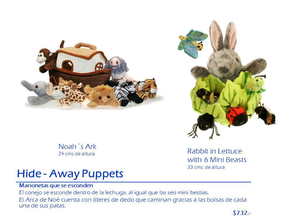 Hide - Away Puppets Noah´s Ark Rabbit in Lettuce with 6 Mini Beasts