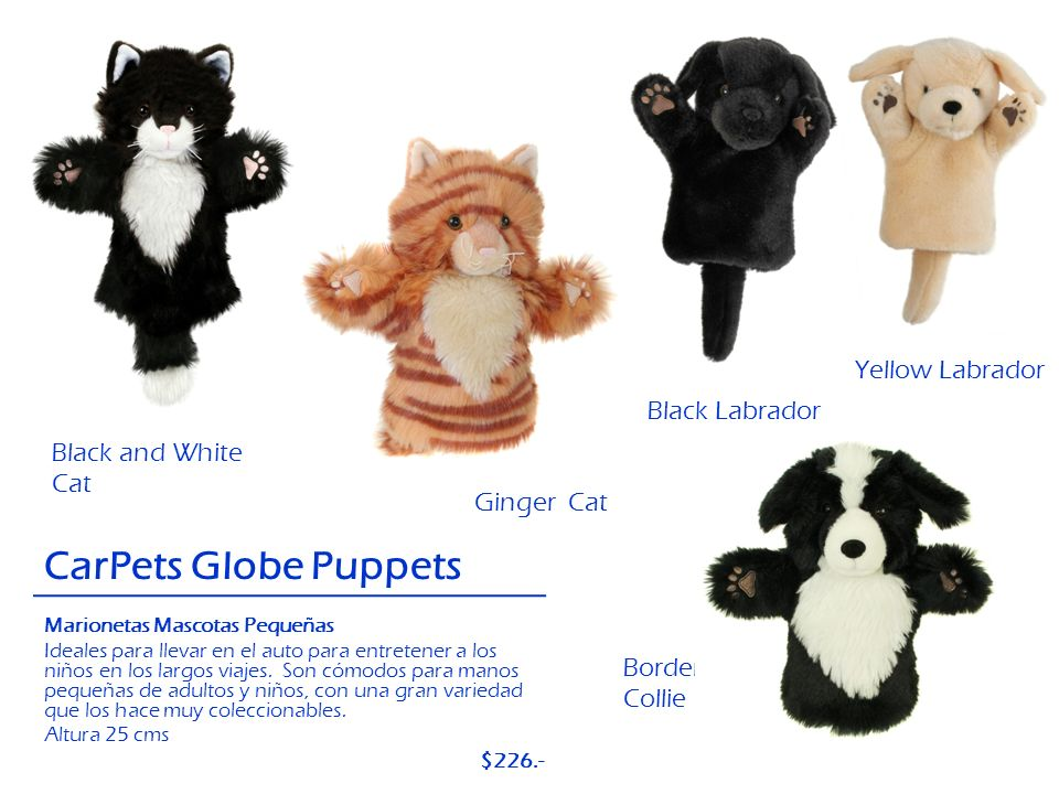 CarPets Globe Puppets Yellow Labrador Black Labrador Black and White