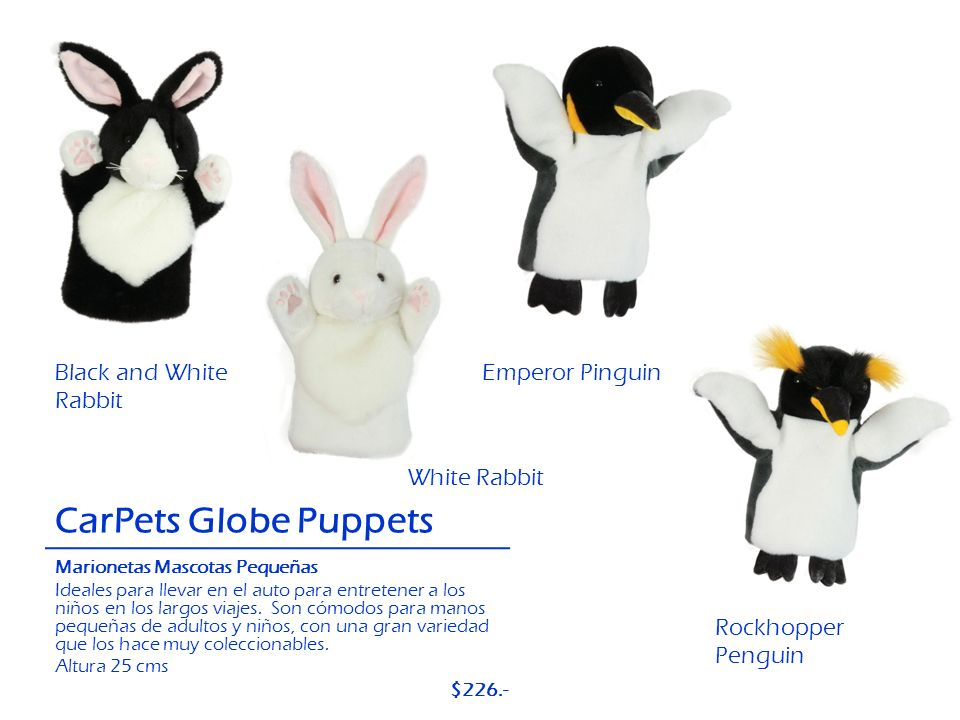 CarPets Globe Puppets Black and White Rabbit Emperor Pinguin