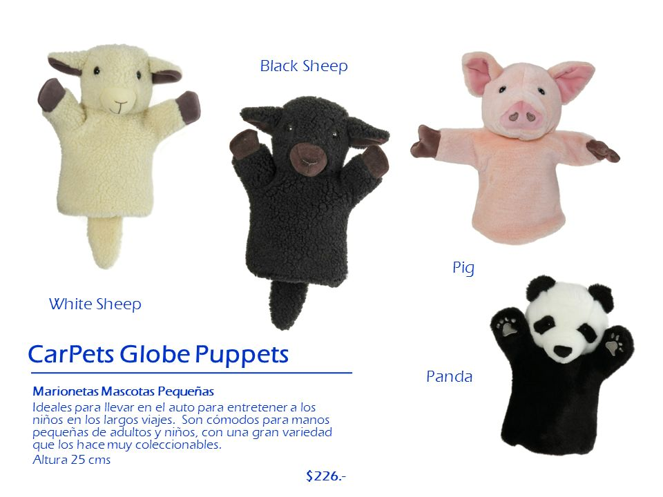 CarPets Globe Puppets Black Sheep Pig White Sheep Panda $226.-