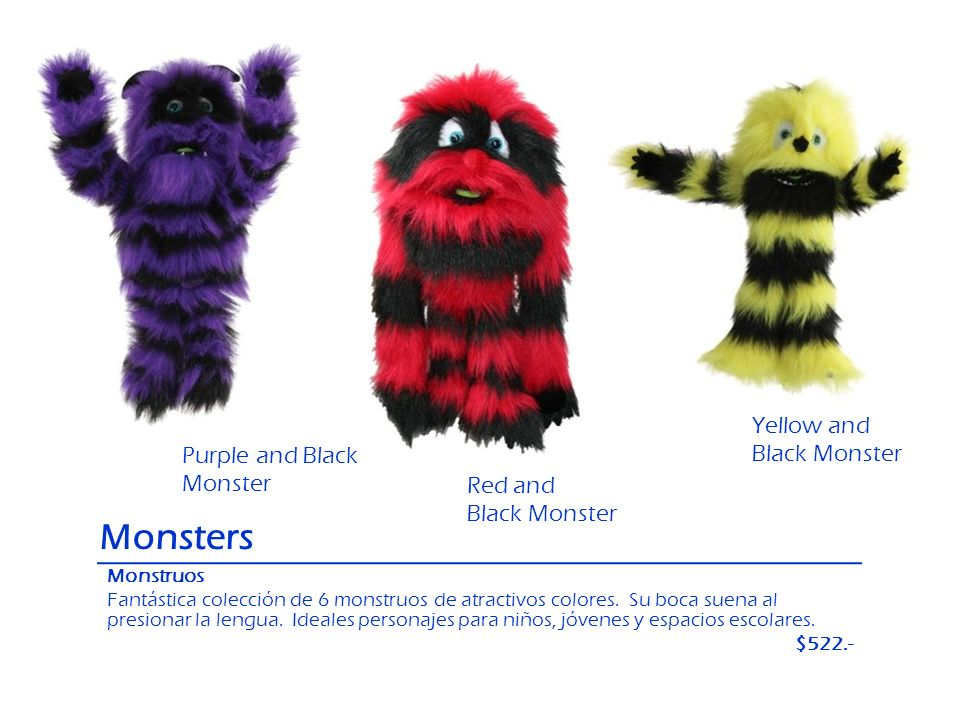 Monsters Yellow and Black Monster Purple and Black Monster Red and