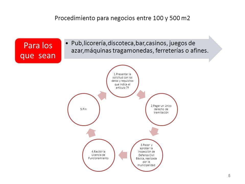 Procedimiento para negocios entre 100 y 500 m2