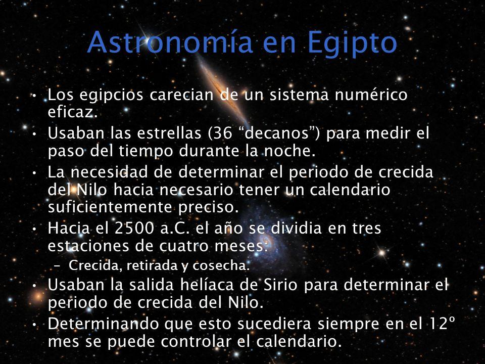 Astronomía en Egipto Los egipcios carecian de un sistema numérico eficaz.