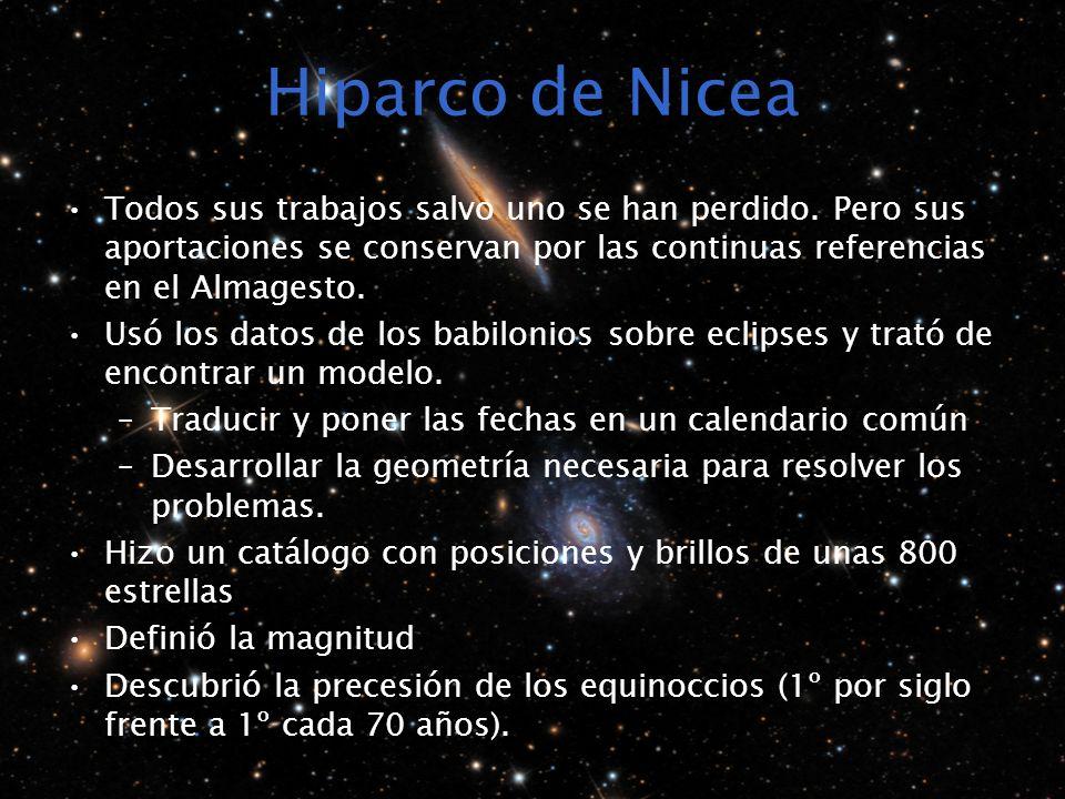 Hiparco de Nicea Todos sus trabajos salvo uno se han perdido. Pero sus aportaciones se conservan por las continuas referencias en el Almagesto.