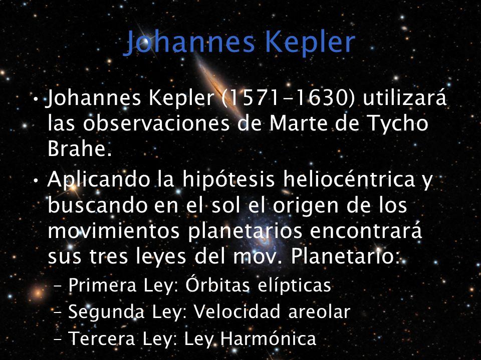 Johannes Kepler Johannes Kepler (1571-1630) utilizará las observaciones de Marte de Tycho Brahe.