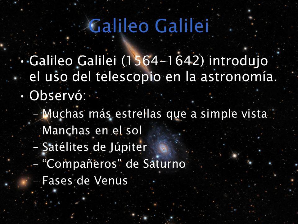 Galileo Galilei Galileo Galilei (1564-1642) introdujo el uso del telescopio en la astronomía. Observó: