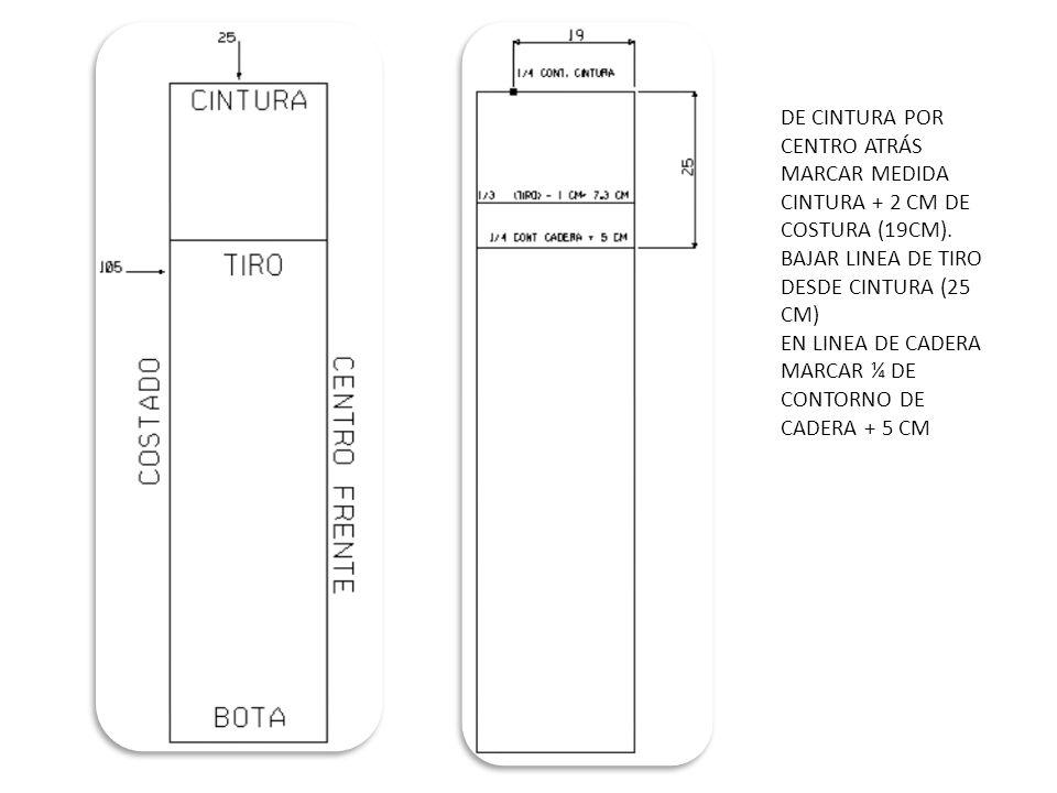 DE CINTURA POR CENTRO ATRÁS MARCAR MEDIDA CINTURA + 2 CM DE COSTURA (19CM).