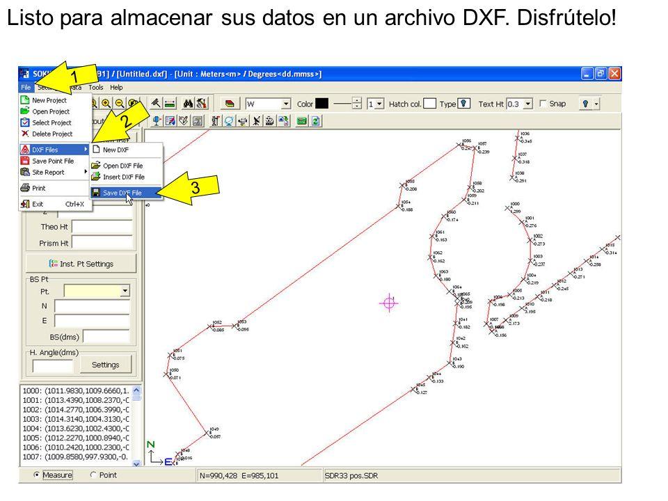 Listo para almacenar sus datos en un archivo DXF. Disfrútelo!