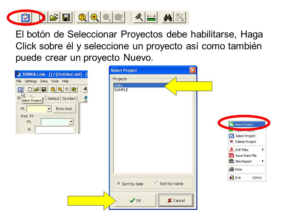 El botón de Seleccionar Proyectos debe habilitarse, Haga Click sobre él y seleccione un proyecto así como también puede crear un proyecto Nuevo.