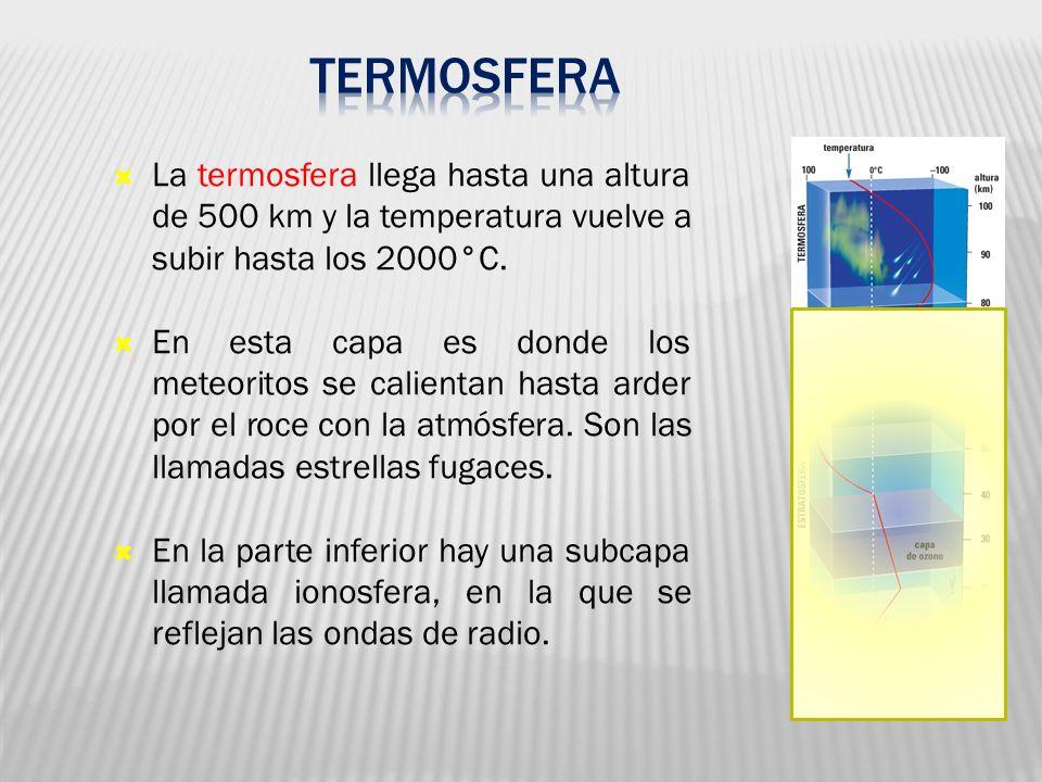 05 Termosfera. La termosfera llega hasta una altura de 500 km y la temperatura vuelve a subir hasta los 2000°C.