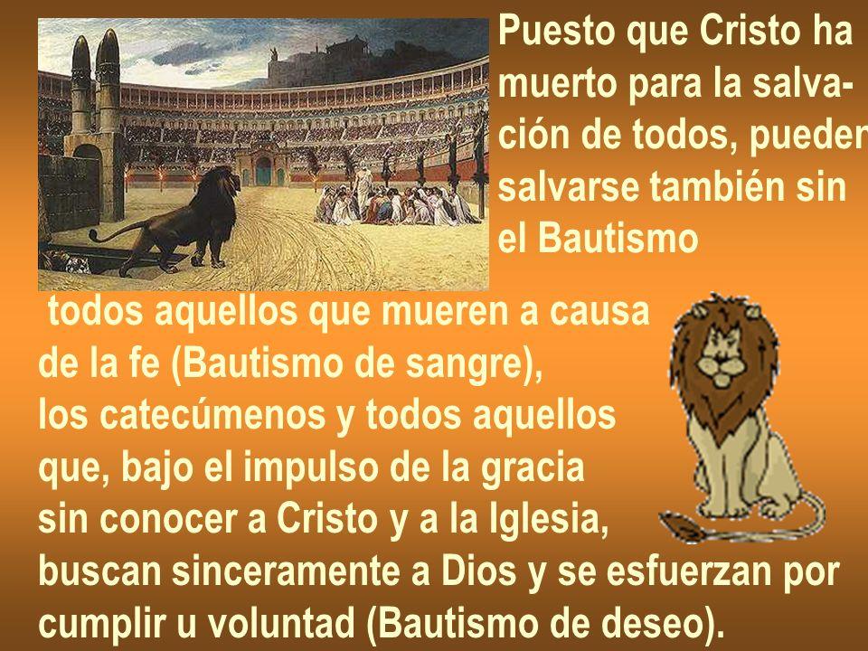 Puesto que Cristo hamuerto para la salva- ción de todos, pueden. salvarse también sin. el Bautismo.