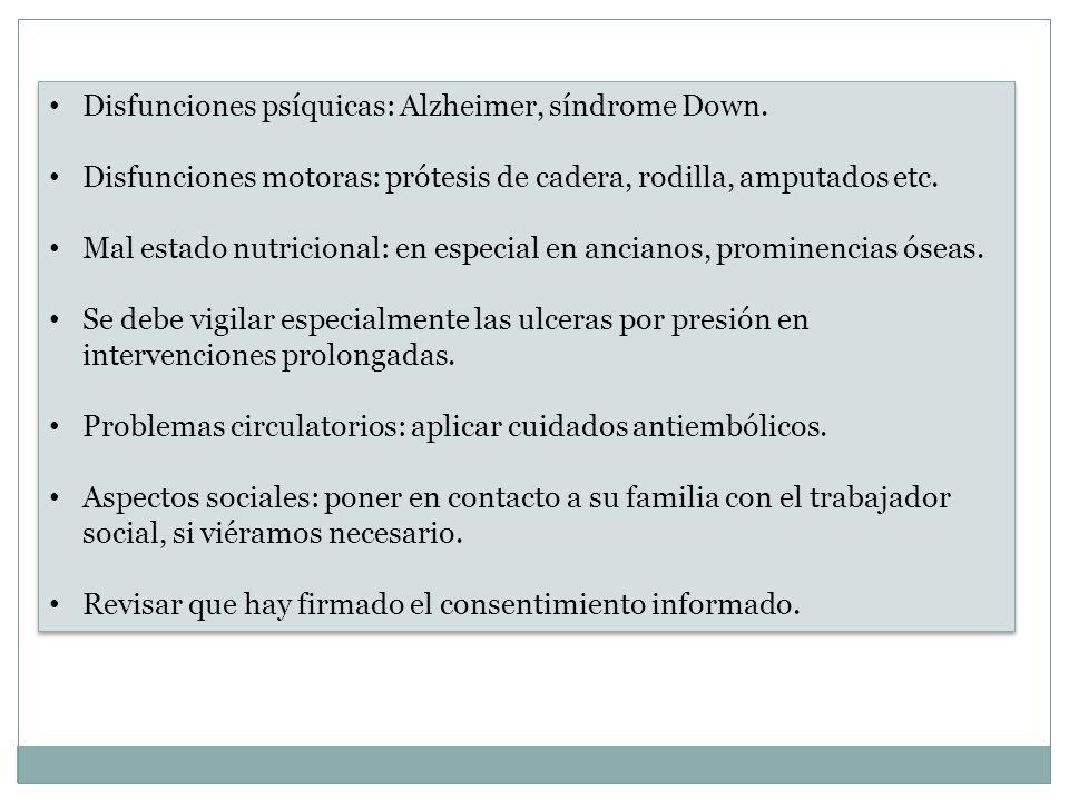 Disfunciones psíquicas: Alzheimer, síndrome Down.