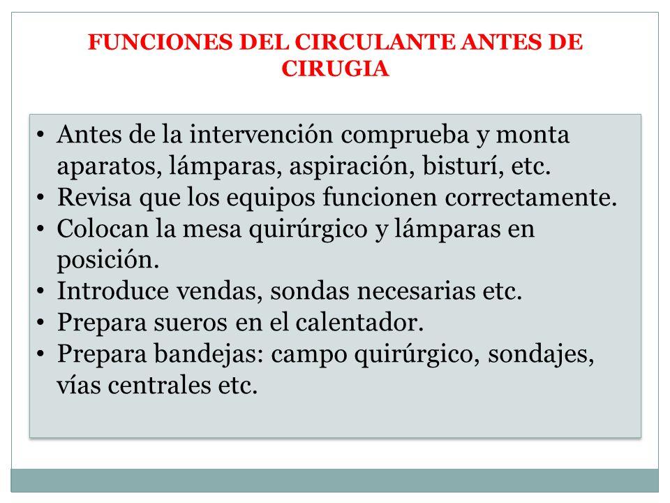 FUNCIONES DEL CIRCULANTE ANTES DE CIRUGIA