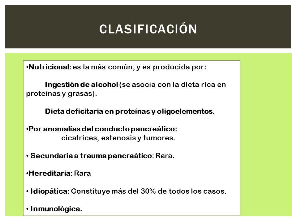 CLASIFICACIÓN Nutricional: es la más común, y es producida por: