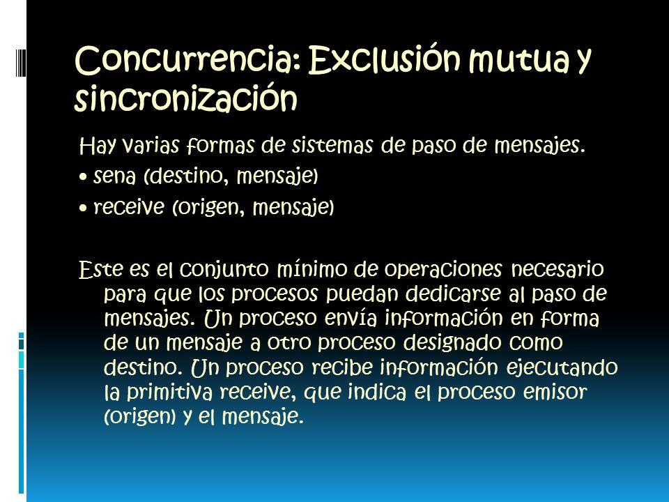 Concurrencia: Exclusión mutua y sincronización