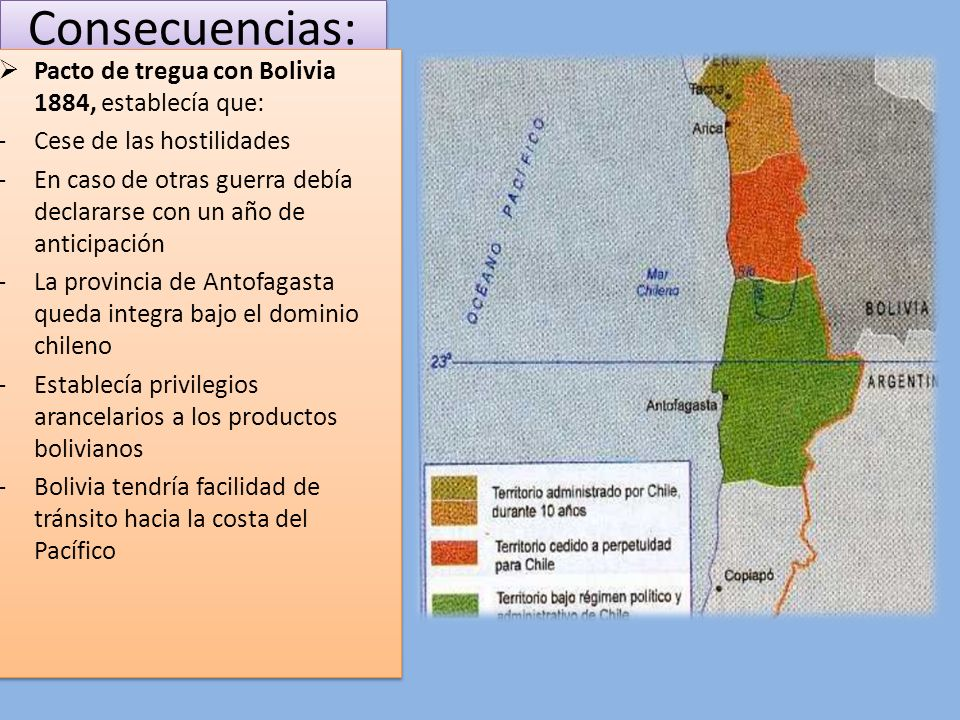 Consecuencias: Pacto de tregua con Bolivia 1884, establecía que:
