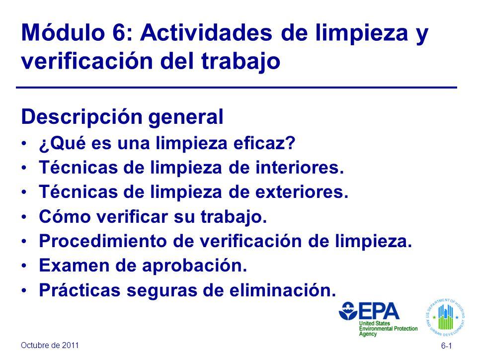Módulo 6: Actividades de limpieza y verificación del trabajo