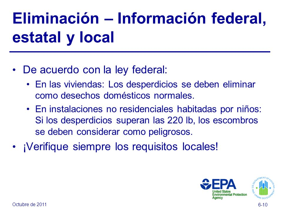 Eliminación – Información federal, estatal y local