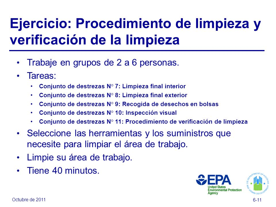Ejercicio: Procedimiento de limpieza y verificación de la limpieza