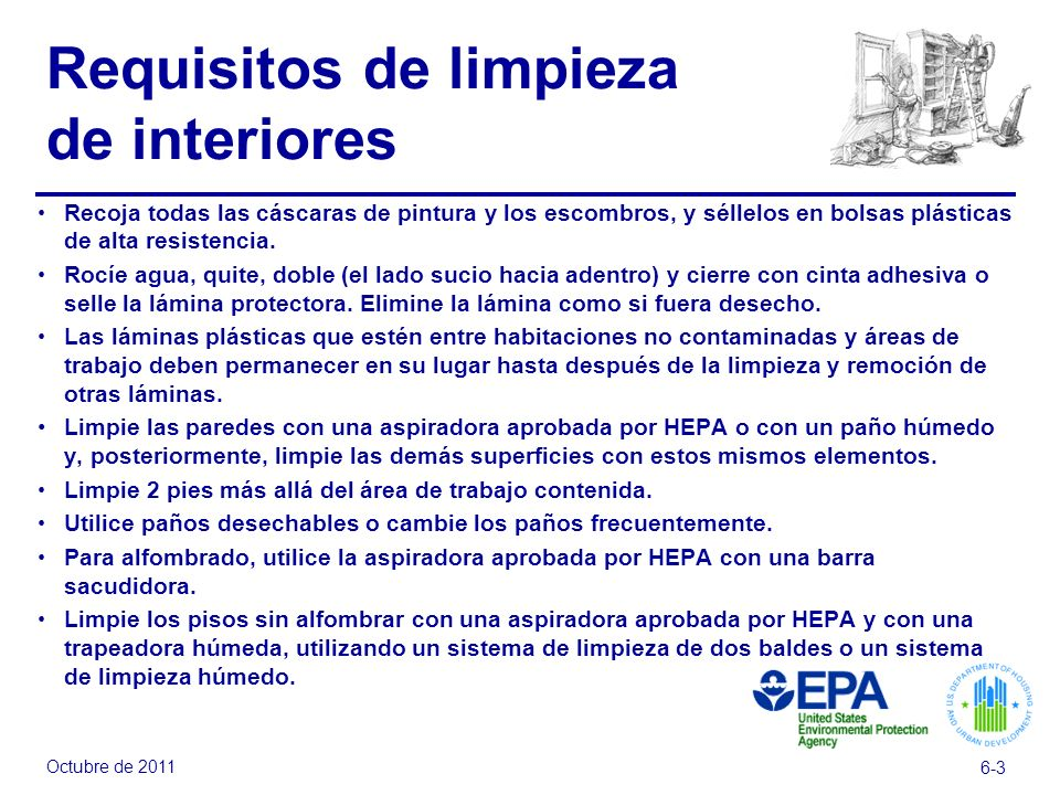 Requisitos de limpieza de interiores