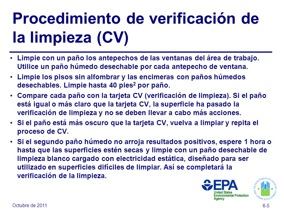 Procedimiento de verificación de la limpieza (CV)