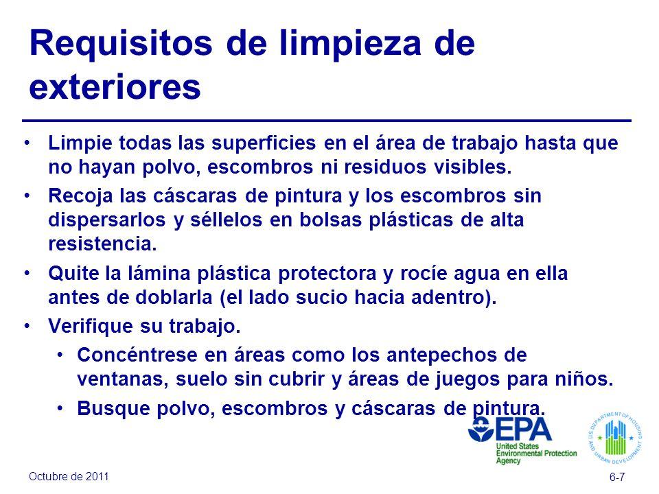 Requisitos de limpieza de exteriores