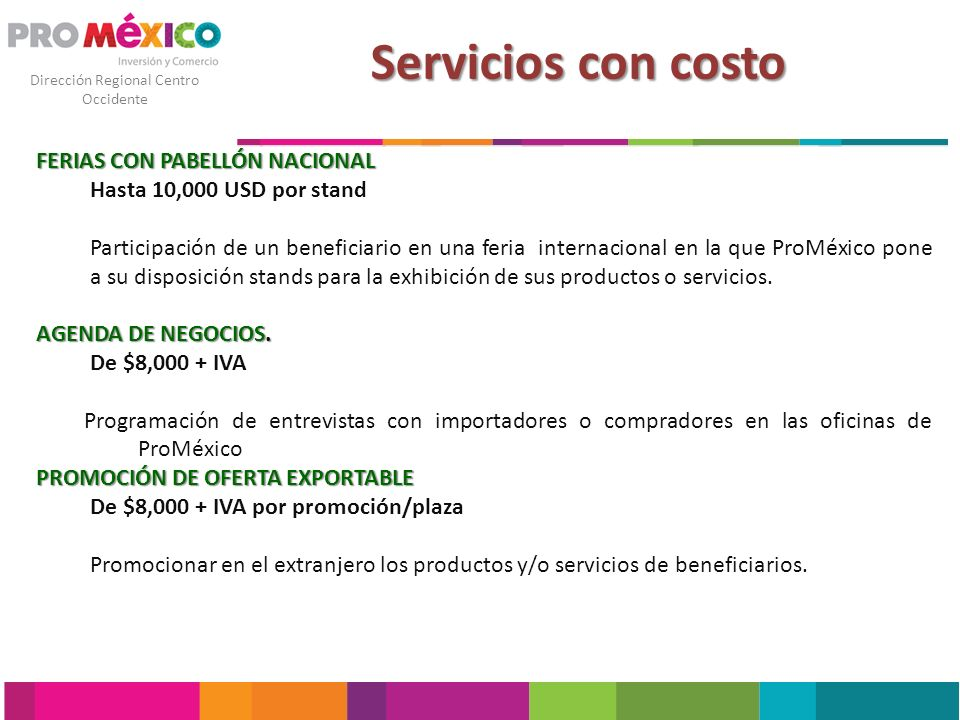 Servicios con costo FERIAS CON PABELLÓN NACIONAL