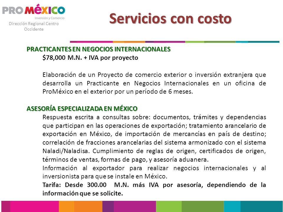 Servicios con costo PRACTICANTES EN NEGOCIOS INTERNACIONALES