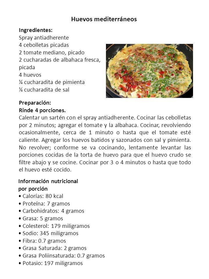Huevos mediterráneos Ingredientes: