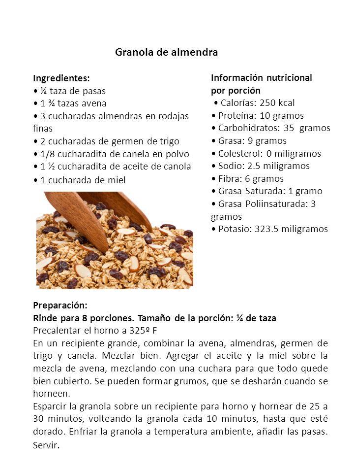 Granola de almendra Ingredientes: Información nutricional por porción