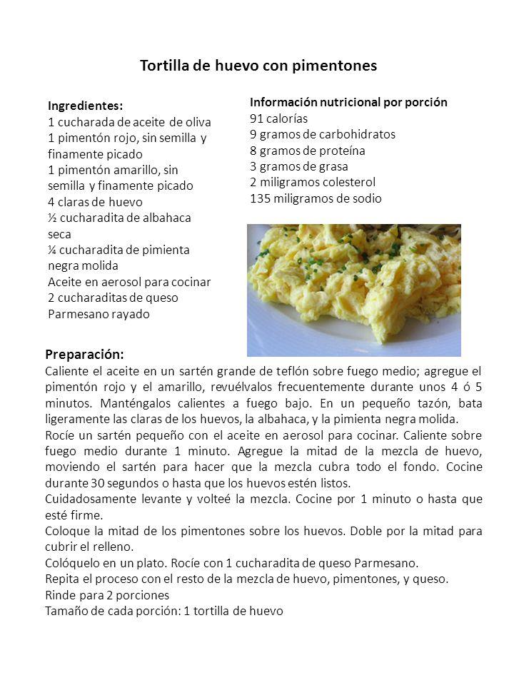 Tortilla de huevo con pimentones