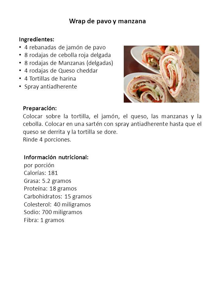 Wrap de pavo y manzana Ingredientes: 4 rebanadas de jamón de pavo