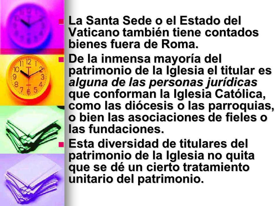 La Santa Sede o el Estado del Vaticano también tiene contados bienes fuera de Roma.