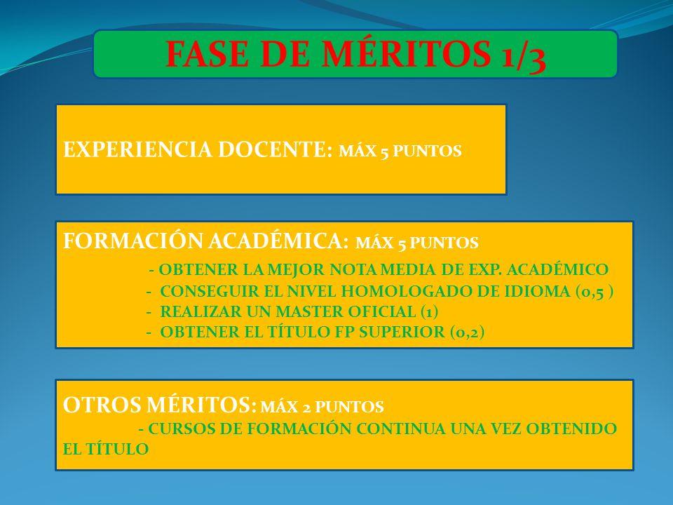 FASE DE MÉRITOS 1/3 EXPERIENCIA DOCENTE: MÁX 5 PUNTOS