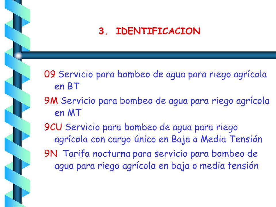 3. IDENTIFICACION 09 Servicio para bombeo de agua para riego agrícola en BT. 9M Servicio para bombeo de agua para riego agrícola en MT.