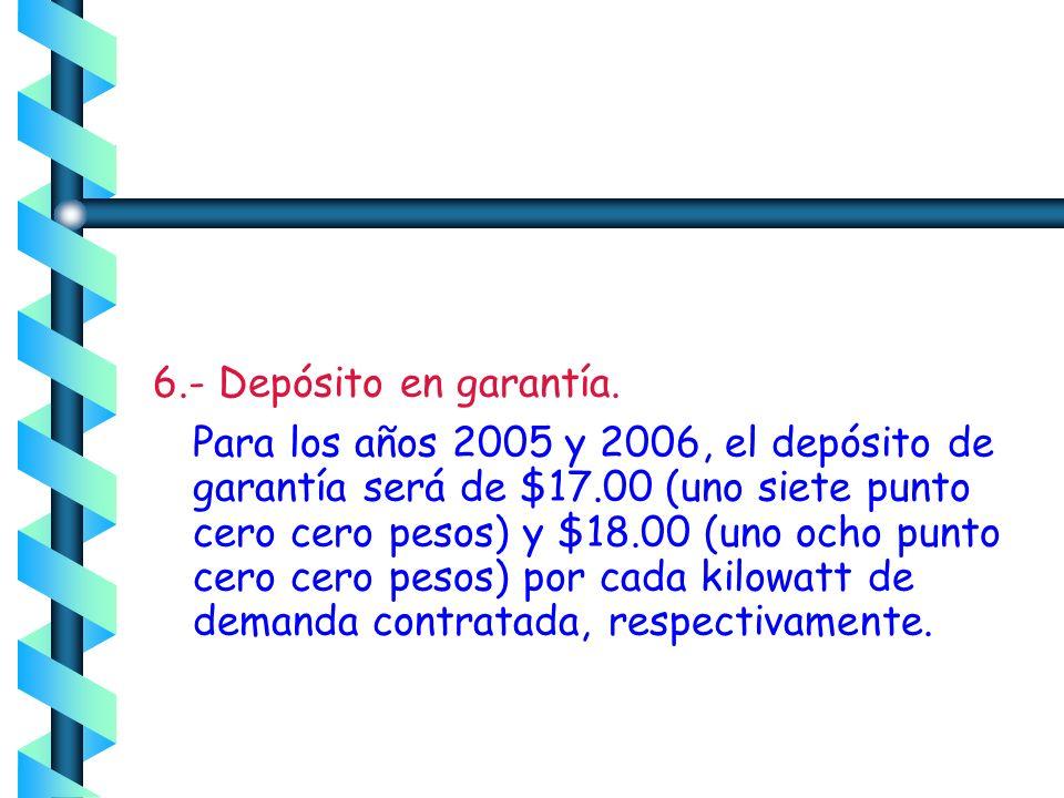 6.- Depósito en garantía.