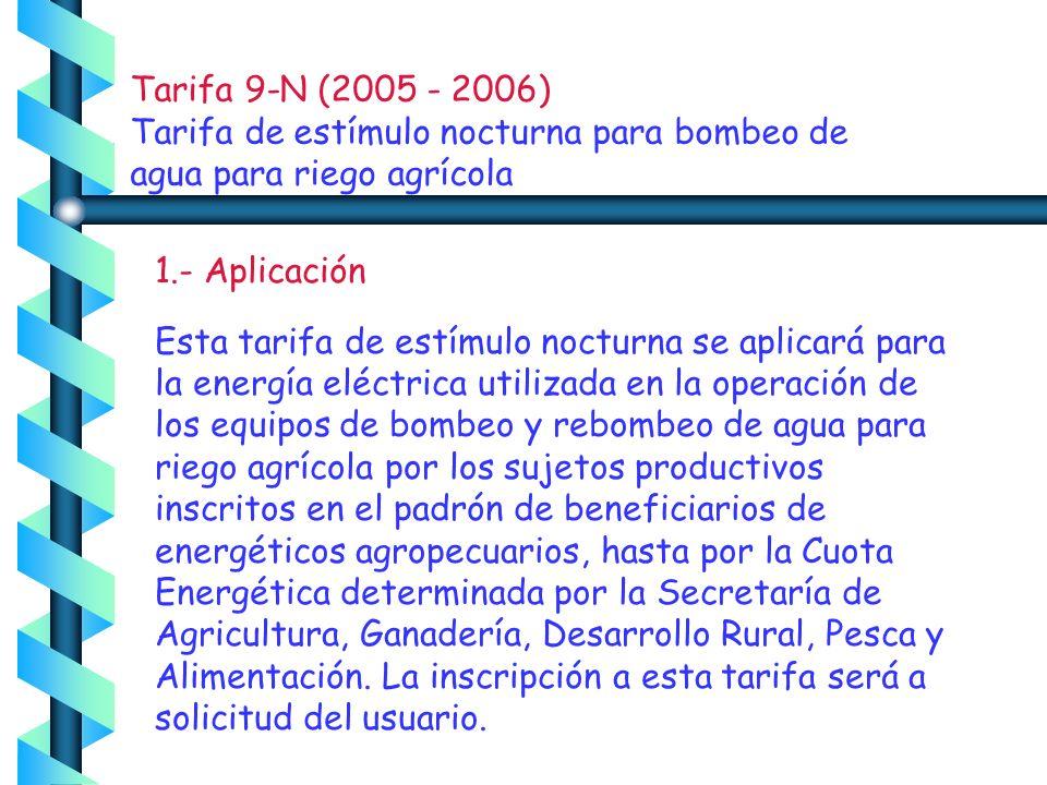 Tarifa 9-N (2005 - 2006) Tarifa de estímulo nocturna para bombeo de agua para riego agrícola