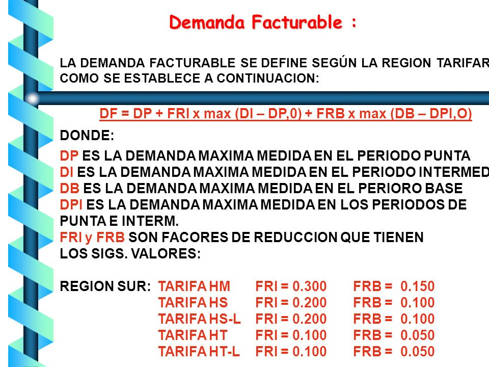 Demanda Facturable : DONDE: