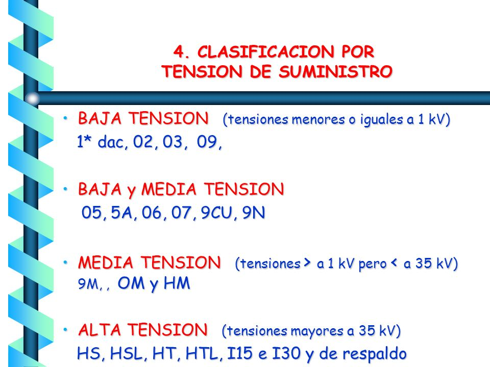 4. CLASIFICACION POR TENSION DE SUMINISTRO