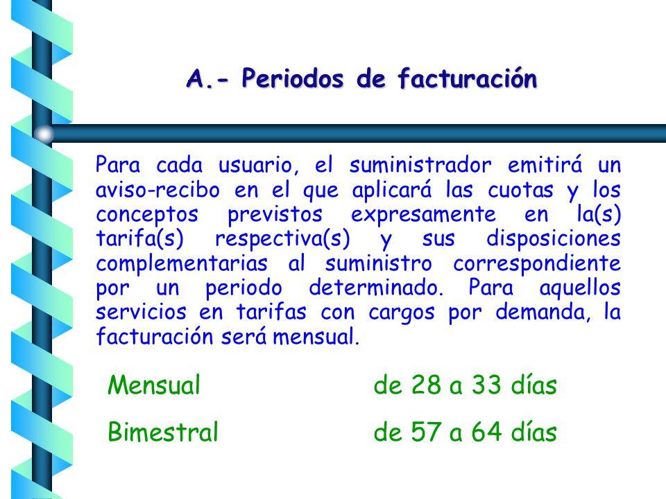 A.- Periodos de facturación