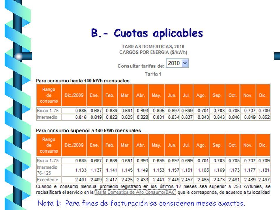 B.- Cuotas aplicables Nota 1: Para fines de facturación se consideran meses exactos.