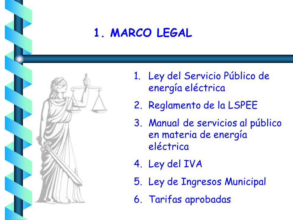 1. MARCO LEGAL Ley del Servicio Público de energía eléctrica