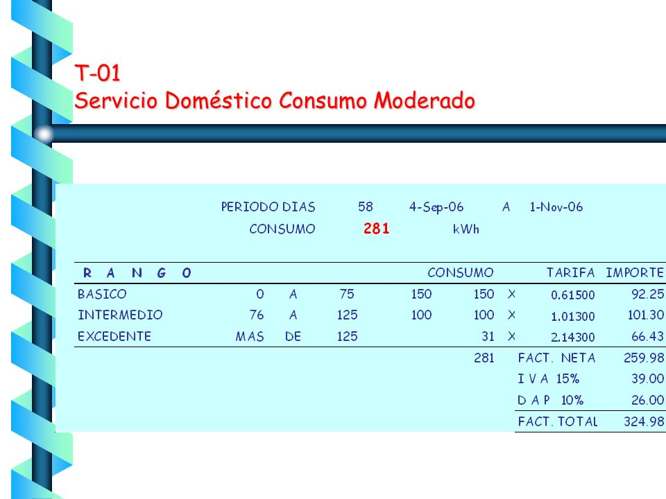 T-01 Servicio Doméstico Consumo Moderado