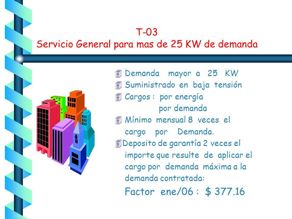 T-03 Servicio General para mas de 25 KW de demanda